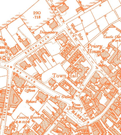 Second edition OS map of 1904 showing 'Police Buildings' which were demolished