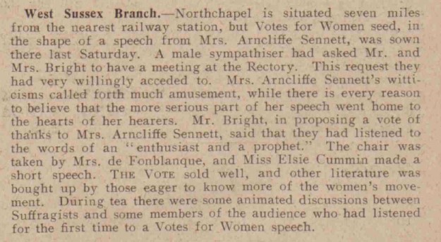 Excerpt from The Vote, summarising a recent meeting of the West Sussex branch of the WFL at Northchapel, chaired by Mrs de Fonblanque (The Vote, 25th November 1909)