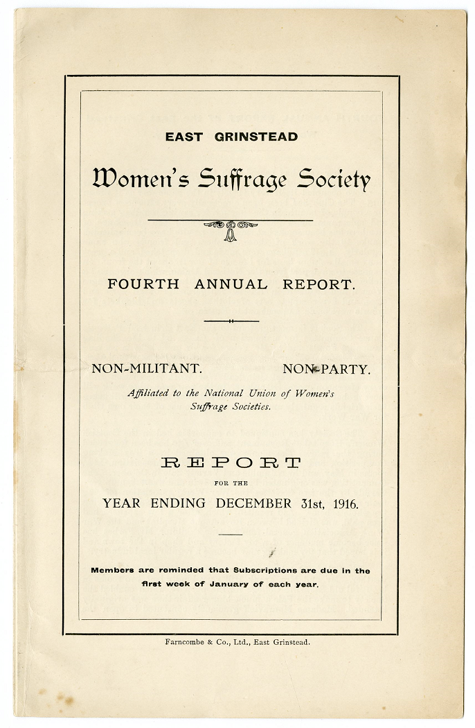 Fourth Annual Report of the East Grinstead Women's Suffrage Society, for the year 1916 (Add Mss 54753)