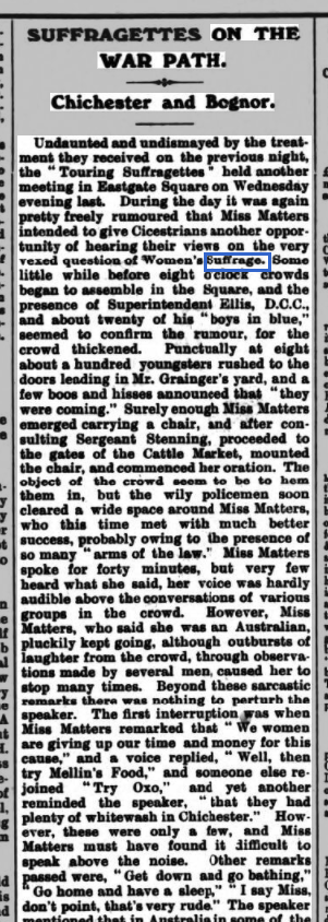 Excerpt from an article in the Bognor Observer, reporting on the WFL's experiences in Chichester and Bognor (June 10th 1908)