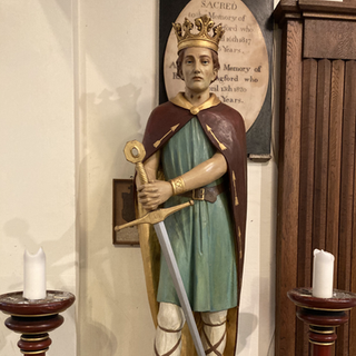 Plaster statue of St Edmund