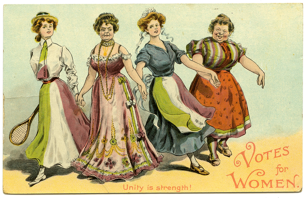 Suffrage postcard, 'Unity is Strength' c1910 (Acc 19737 008)