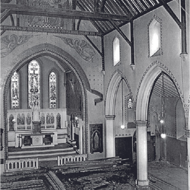 Photographs prior to 1960s renovations showing original decoration, gallery at west end and open roof.