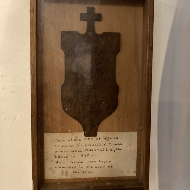 Piece of oak tree to which Edmund was tied