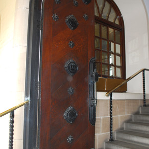Doors designed by Walter Gilbert showing emblems of the trades of Dudley