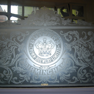 'Crown' etched mirror in first floor 'clubroom'