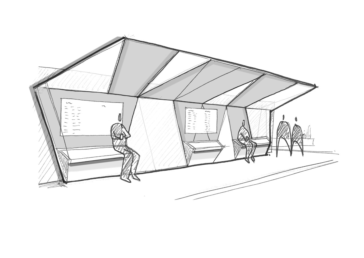 Transport hub public realm bus shelter