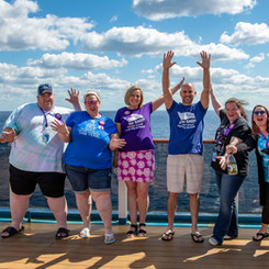The forty year olds celebrate their tenth birthday together on deck.