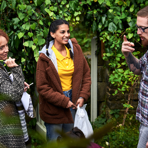 Joanne Mitchell, Payal Mistry and Mat Johns discuss the next scene.