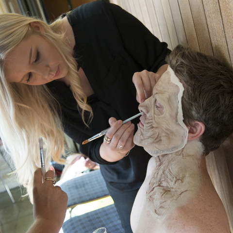 Brogan Sharp and Laura Rosemary Phillipson transform Garth Maunders into a zombie using custom-made silicone prosthetics.
