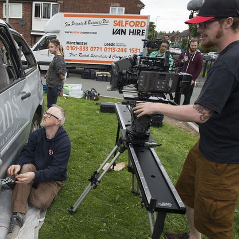 Mat Johns frames the shot whilst Shaune Harrison controls an animatronic skeleton.