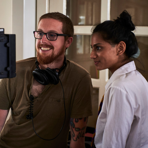 Mat Johns and Payal Mistry review the last take.
