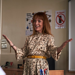 Joanne Mitchell commands the attention of the class.