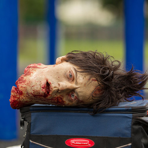 A prosthetic severed head takes a break after a full day's work.