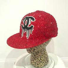 Red Bling Drip Chanel Logo Cap
