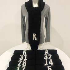 Black Knit Scarves with Crystal