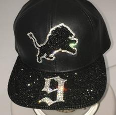 Lions Black Leather Cap with Black Sparkle