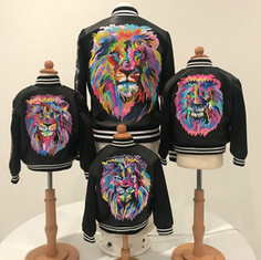 Hand-Painted Lions Family Bomber Jackets