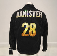 Banister Black Denim Custom Swarovski Jacket