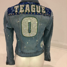 Teague Custom Swarovski & Lace Denim Jacket
