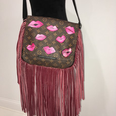 Lips Painted Purse with Fringe