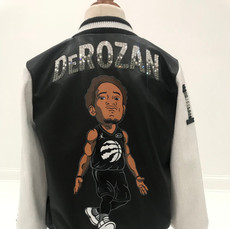 DeRozan Leather and Sequin Youth Bomber Jacket