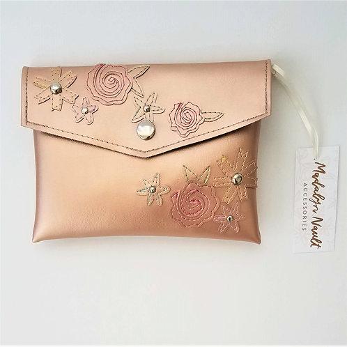 Rose Gold Floral Clutch
