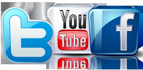 Facebook logo youtube logo twitter logo HTR Media