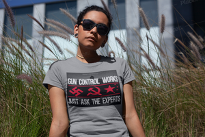 Girl in Gray Shirt with Gun Control Works Experts shirt for sale
