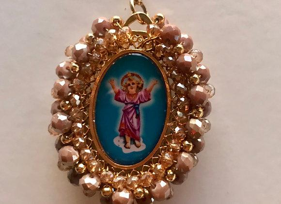Medalla Niño Divino y Angel de la Guarda (doble faz) perla ocre
