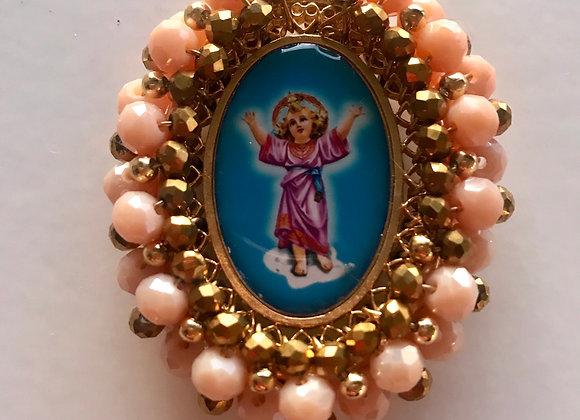 Medalla Niño Divino y Ángel de la Guarda (doble faz) perla beig