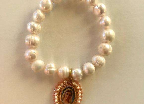 Pulsera Virgen María perlas