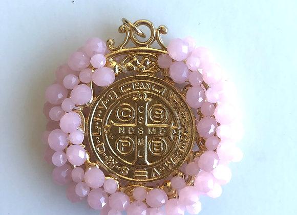 Medalla San Benito XL rosa
