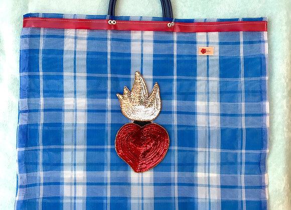 Bag cuadros azules y corazón lentejuelas rojo y  plata