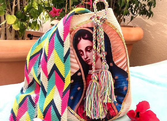 Bolso wayuu beige con Virgen de Guadalupe