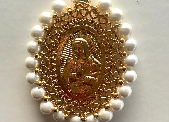 Medalla Virgen de Guadalupe XL perlas