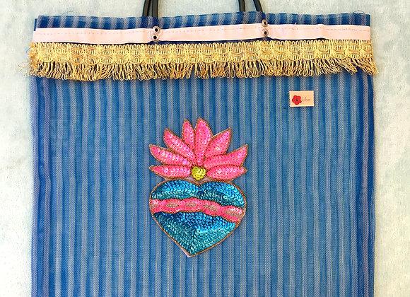 Bag celeste con corazón de lentejuelas