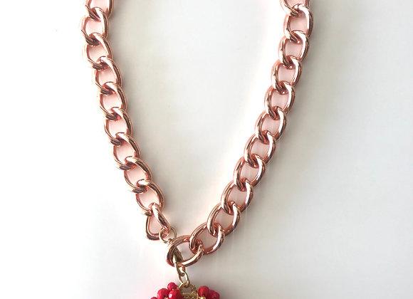 Medalla San Benito en rojo con chocker color oro rosa