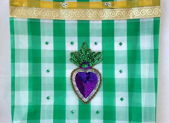 Bag cuadros verdes y corazón lentejuelas