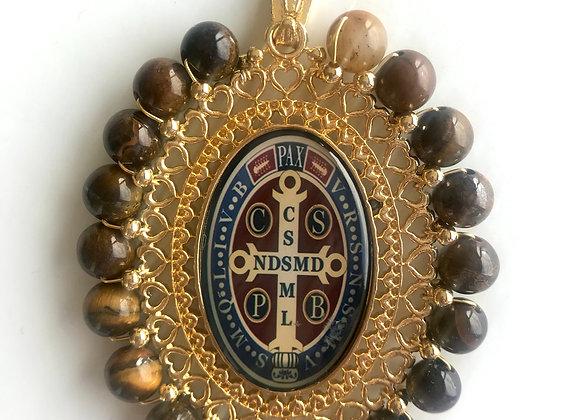Medalla San Benito XXL cuarzo ojo de tigre