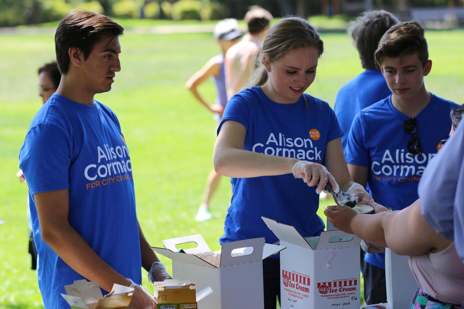 Teen Interns scoop ice cream from Rick's in Palo Alto