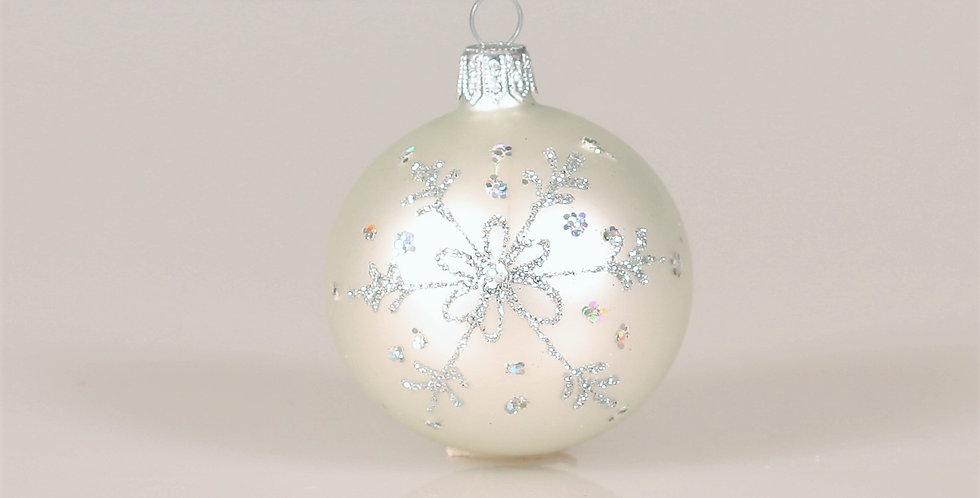 Juletræskugle med snefnug 6cm, Hvid Mat 5 stk.
