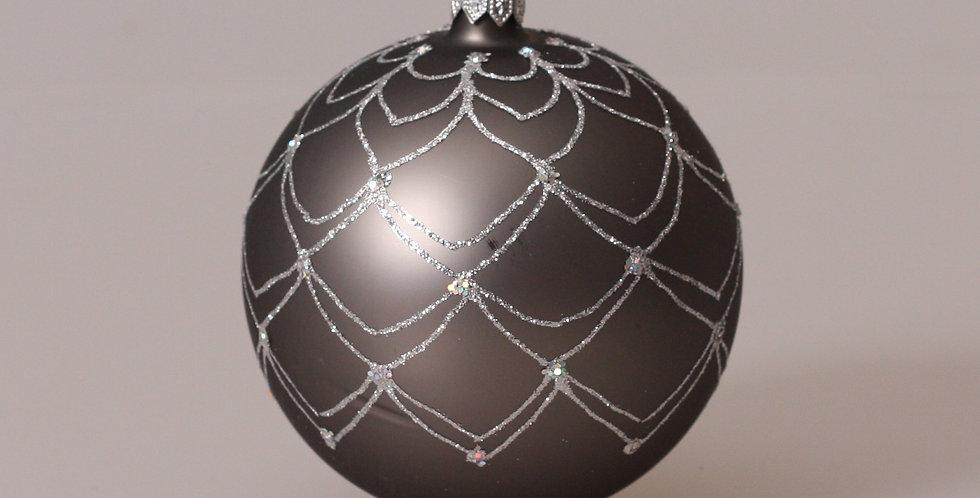 Kugle med sølvmønster 10cm, Grå 4 stk