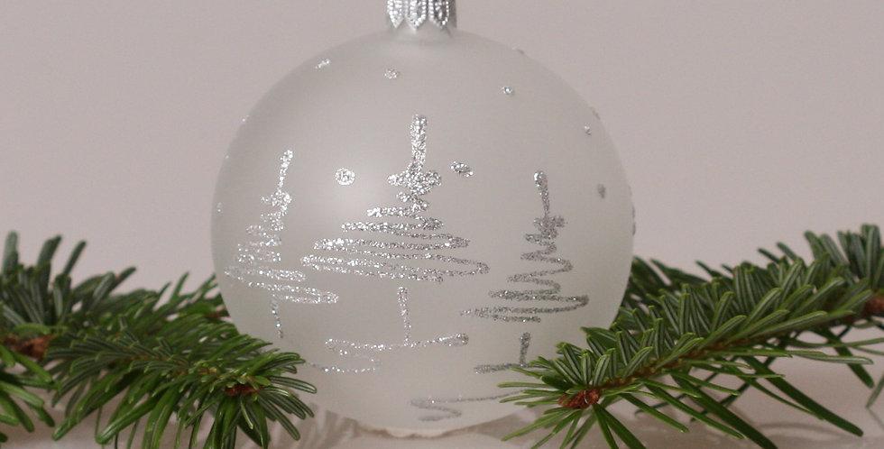 Sølv træer 8cm, Hvid transparent 3 stk