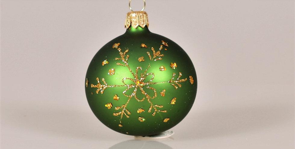 Juletræskugle med snefnug 6cm, Grøn Mat 5 stk.