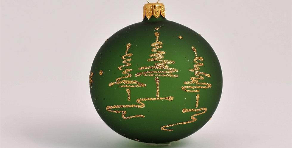 Guld træer 8cm, Grøn transparent 3 stk