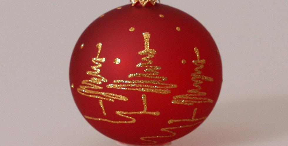 Guld træer 8cm, Rød transparent 3 stk