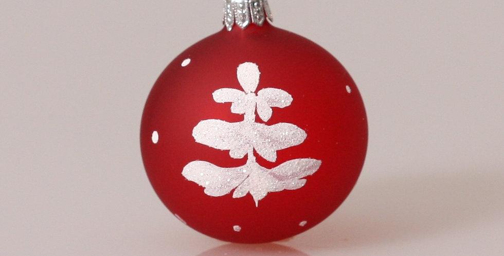Hvidt træ 6cm, Rød transparent 5 stk