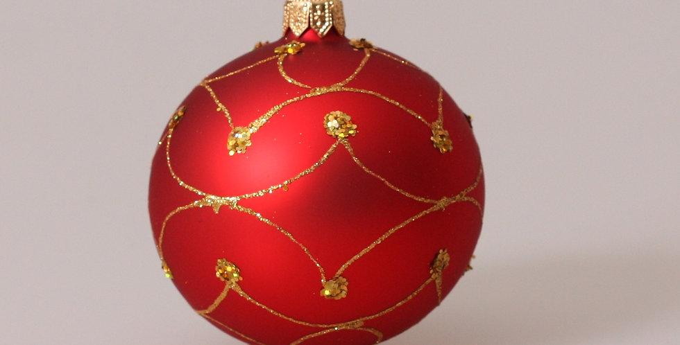 Kugle med guld mønster 8cm, Rød 4 stk