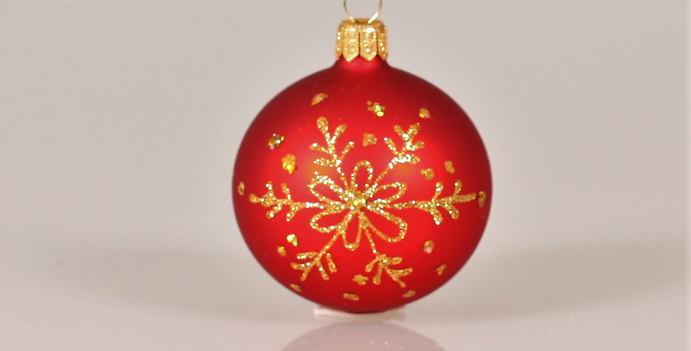 Juletræskugle med snefnug 6cm, Rød mat 5 stk.